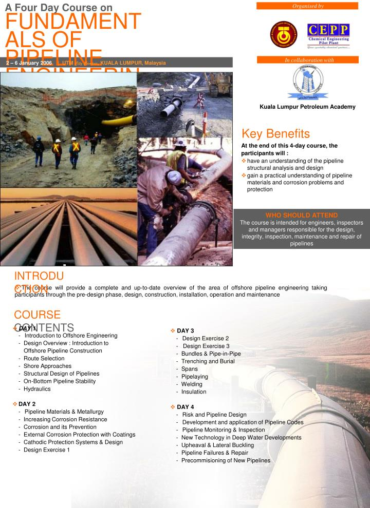 PPT - FUNDAMENTALS OF PIPELINE ENGINEERING PowerPoint