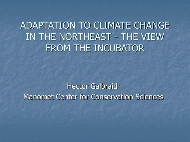adaptation to climate change in the northeast the view from the incubator n.