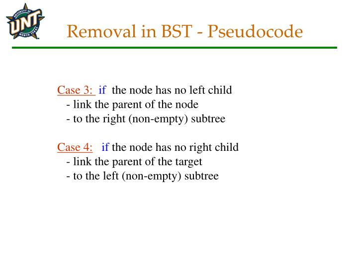 Removal in BST - Pseudocode