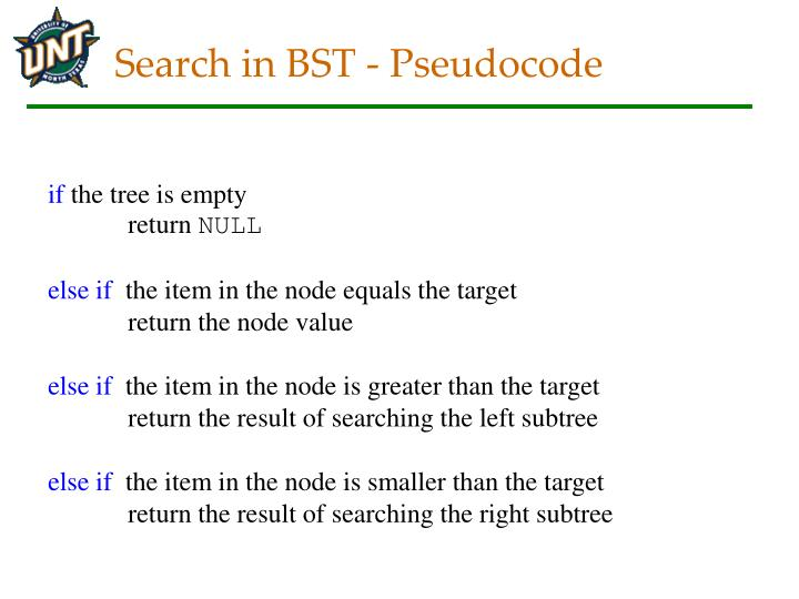Search in BST - Pseudocode