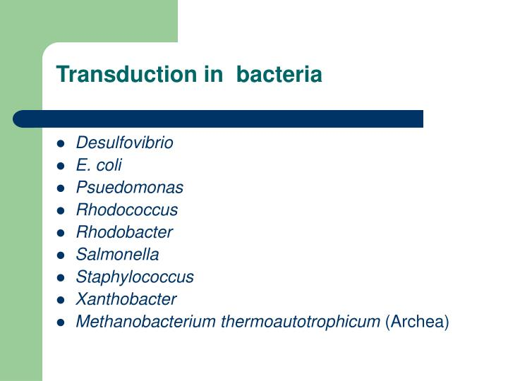 Transduction in  bacteria