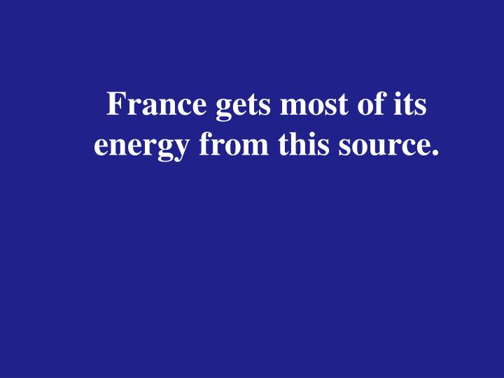 France gets most of its energy from this source.