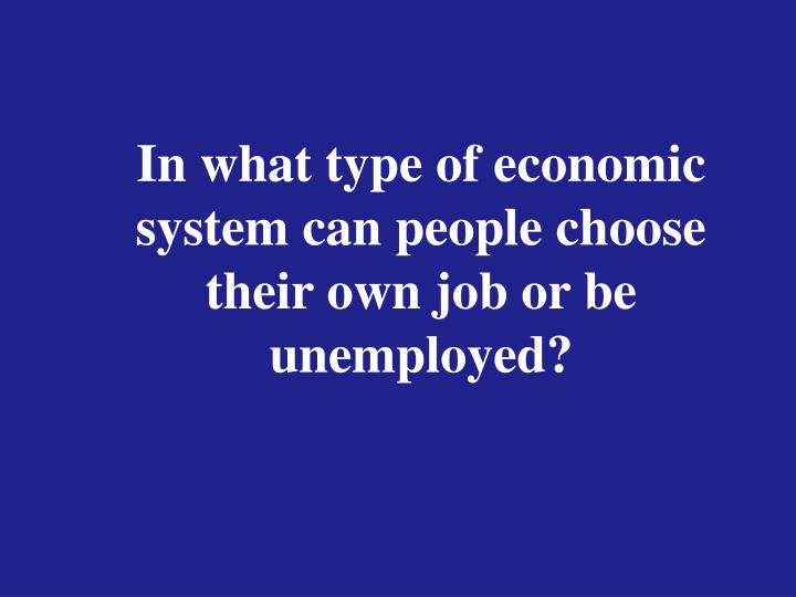 In what type of economic system can people choose their own job or be unemployed?