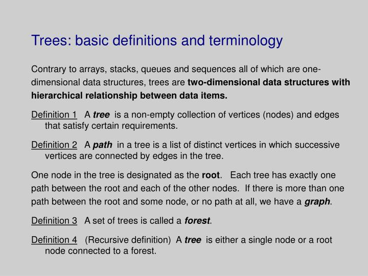 trees basic definitions and terminology