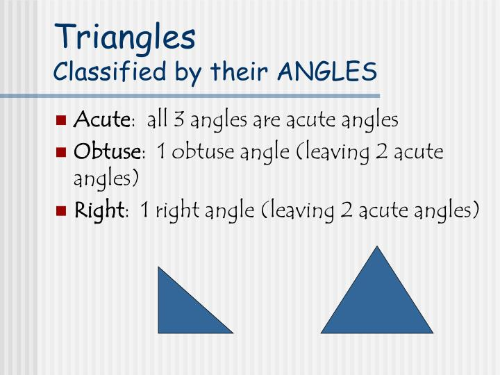 Triangles classified by their angles
