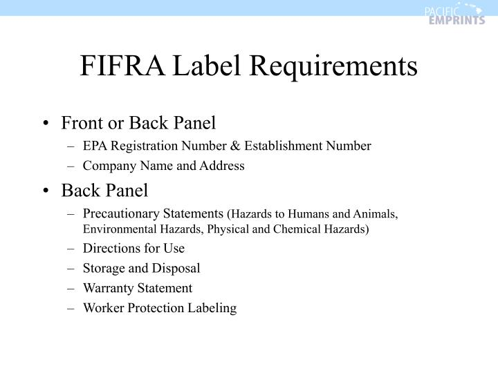 FIFRA Label Requirements