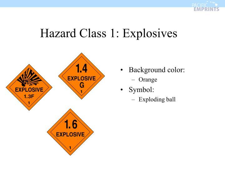 Hazard Class 1: Explosives