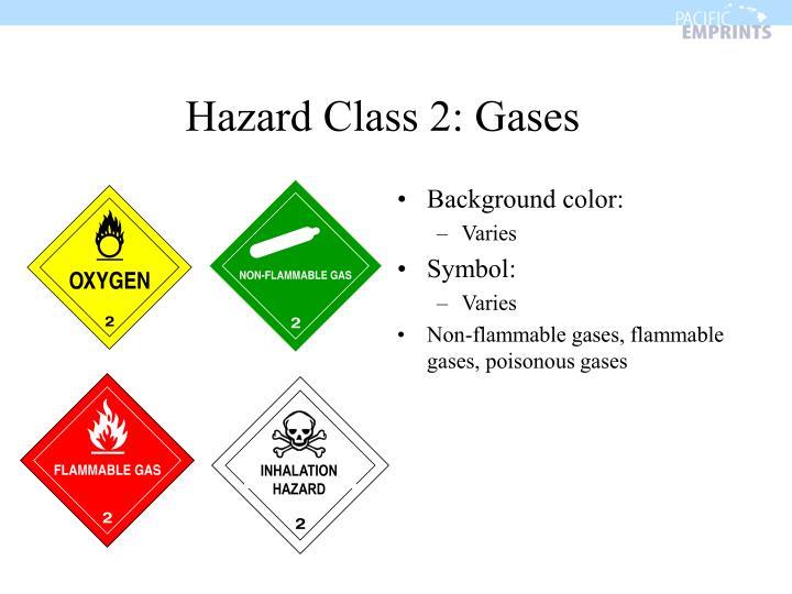 Hazard Class 2: Gases