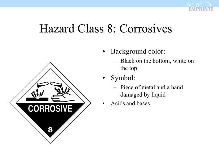 Hazard Class 8: Corrosives
