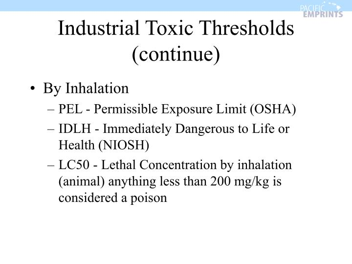 Industrial Toxic Thresholds (continue)