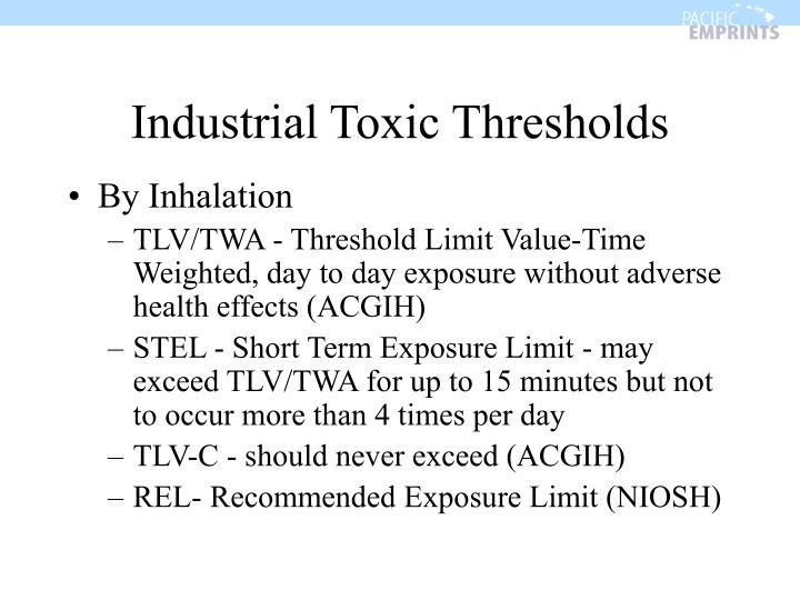 Industrial Toxic Thresholds