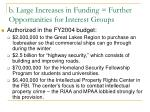 b large increases in funding further opportunities for interest groups
