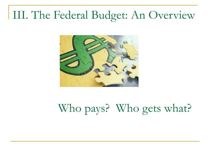 III. The Federal Budget: An Overview