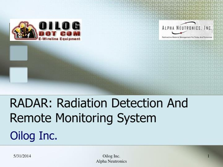 radar radiation detection and remote monitoring system