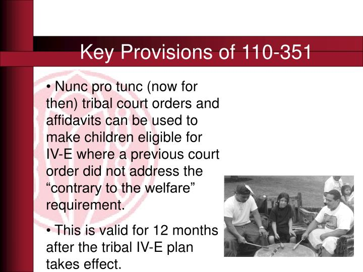 Key Provisions of 110-351