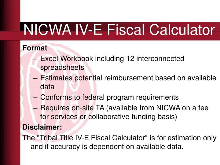 NICWA IV-E Fiscal Calculator