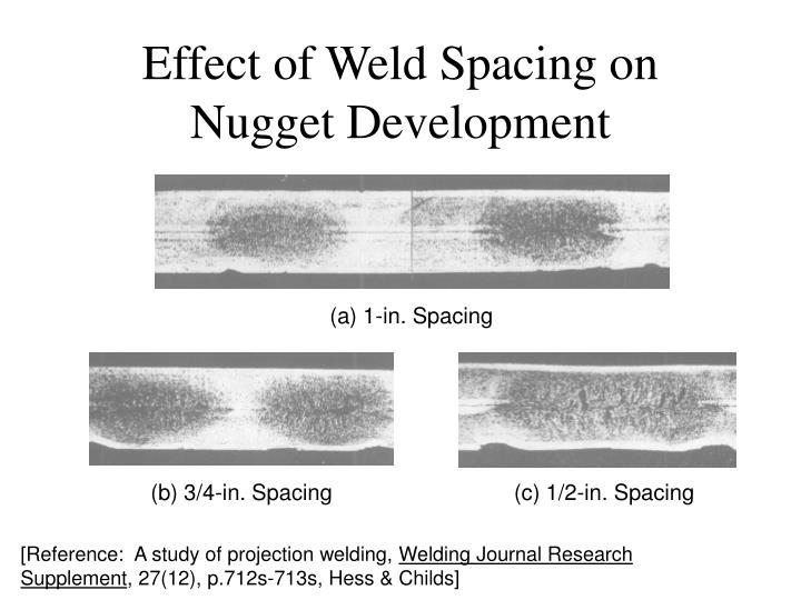 Effect of Weld Spacing on Nugget Development