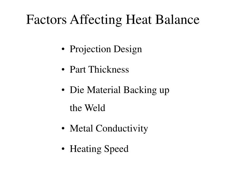 Factors Affecting Heat Balance