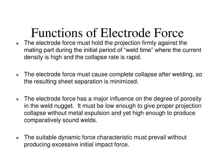 Functions of Electrode Force