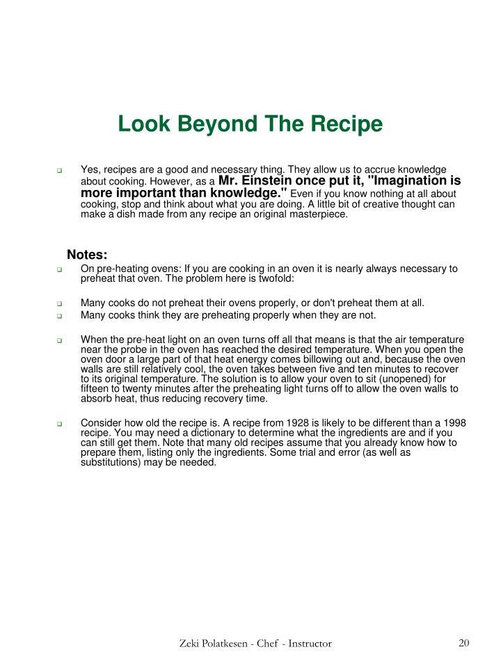 Look Beyond The Recipe