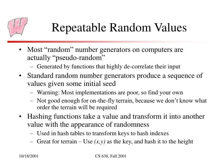 Repeatable Random Values