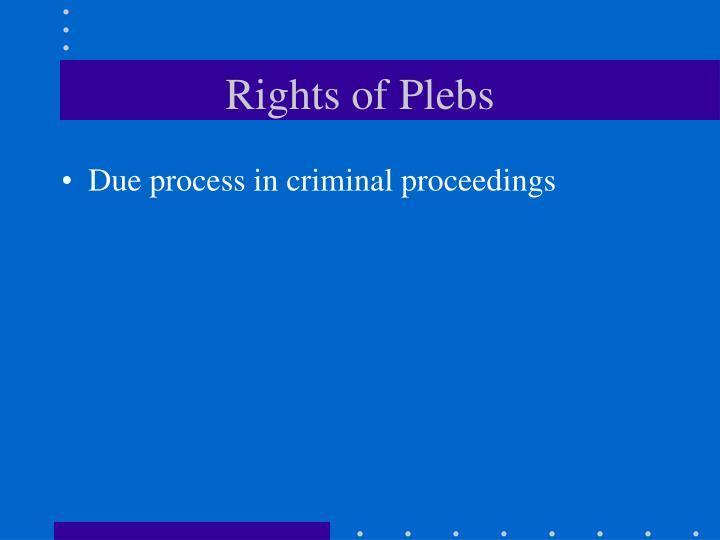 Rights of Plebs