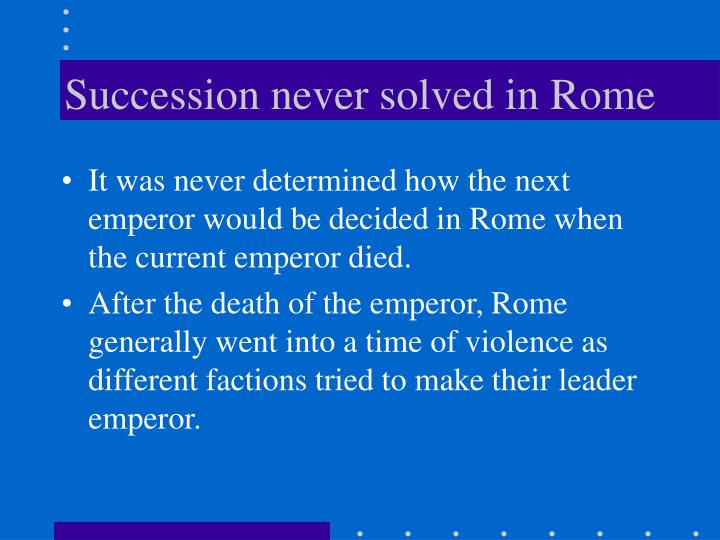 Succession never solved in Rome