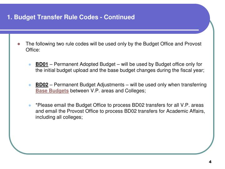 1. Budget Transfer Rule Codes - Continued