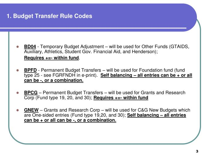 1 budget transfer rule codes