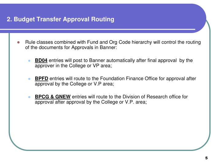 2. Budget Transfer Approval Routing