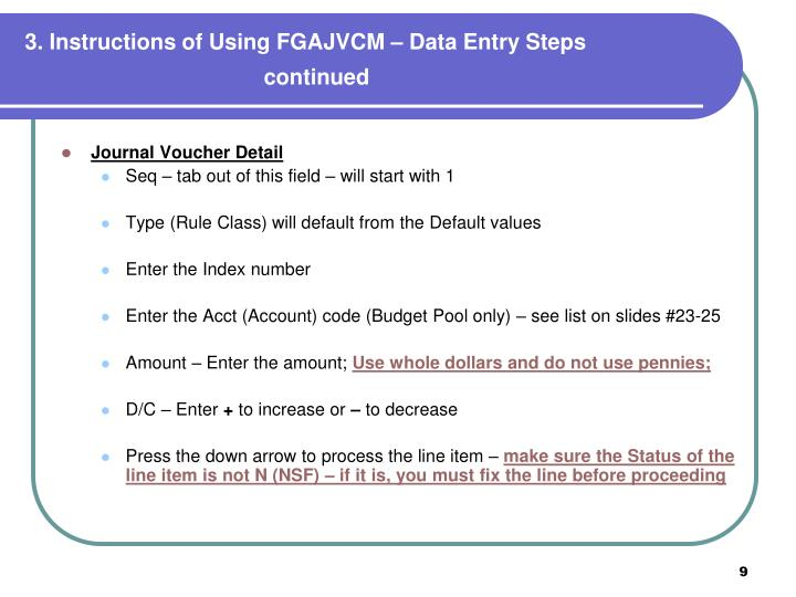 3. Instructions of Using FGAJVCM – Data Entry Steps