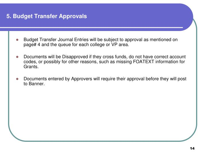 5. Budget Transfer Approvals