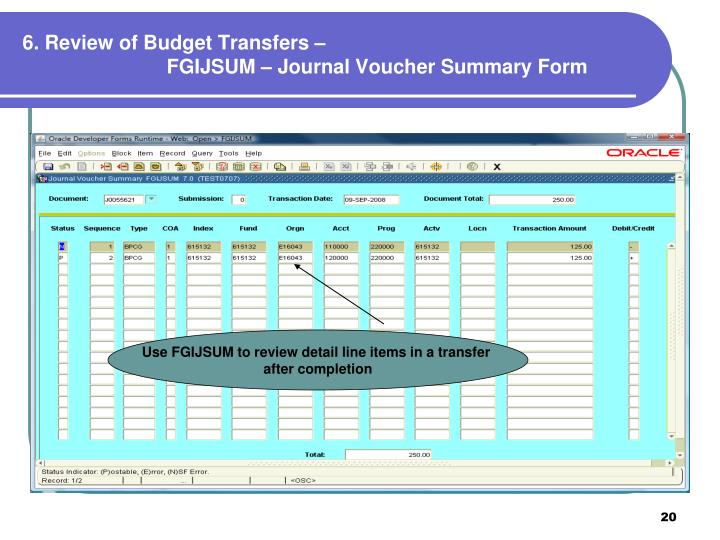 6. Review of Budget Transfers –