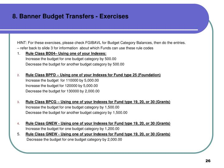 8. Banner Budget Transfers - Exercises