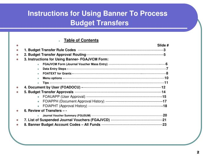 Instructions for using banner to process budget transfers