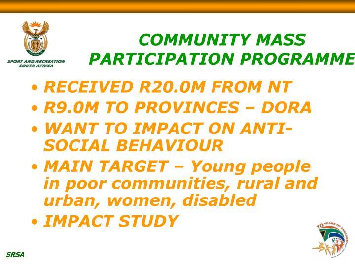 COMMUNITY MASS PARTICIPATION PROGRAMME