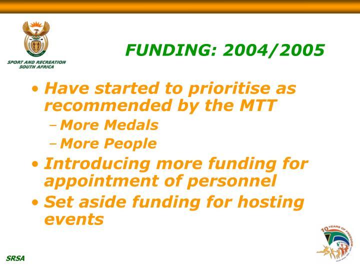 FUNDING: 2004/2005