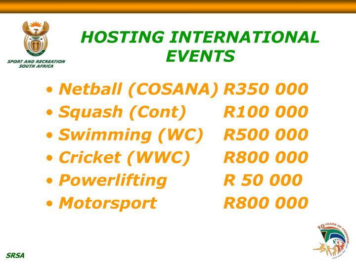 HOSTING INTERNATIONAL EVENTS