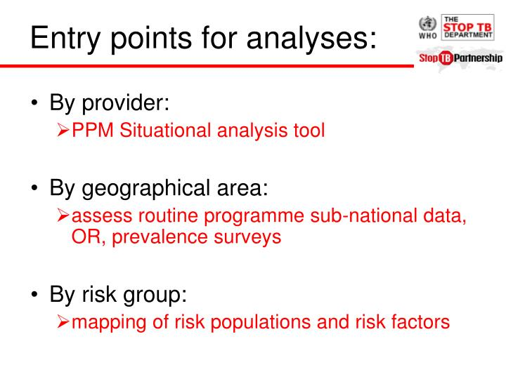 Entry points for analyses: