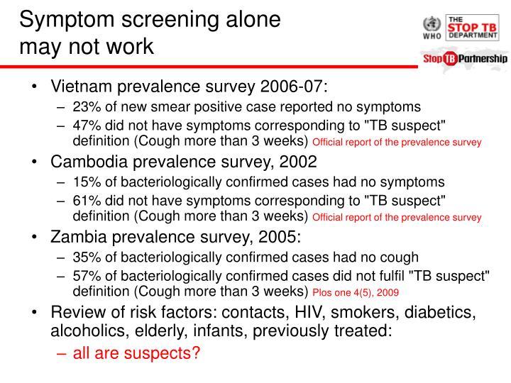 Symptom screening alone