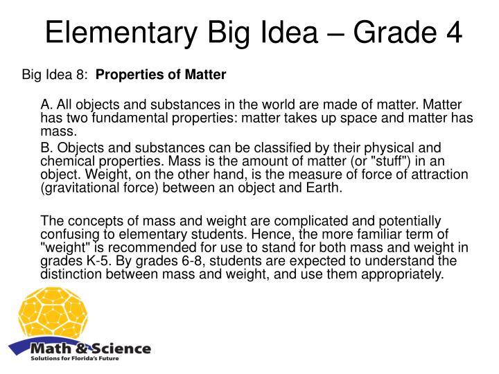 Elementary Big Idea – Grade 4