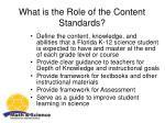 what is the role of the content standards