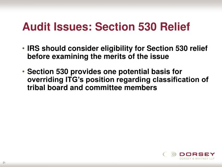 Audit Issues: Section 530 Relief