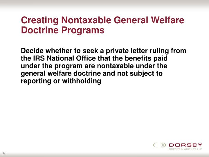 Creating Nontaxable General Welfare Doctrine Programs