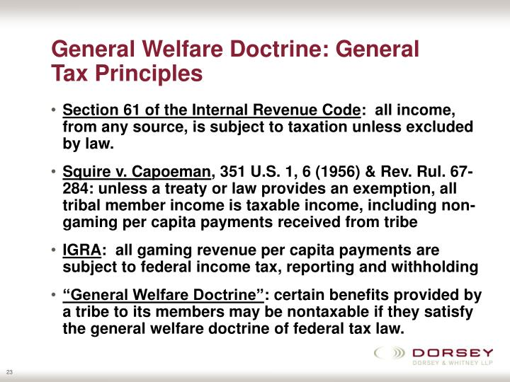 General Welfare Doctrine: General Tax Principles