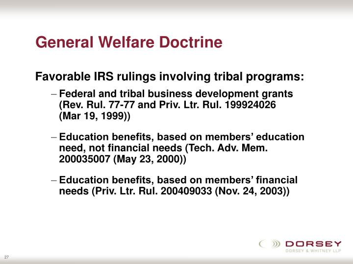 General Welfare Doctrine