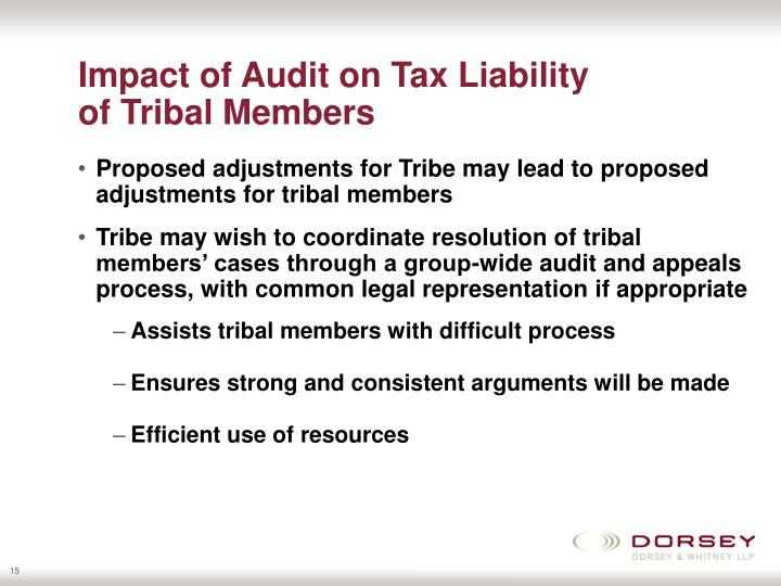 Impact of Audit on Tax Liability