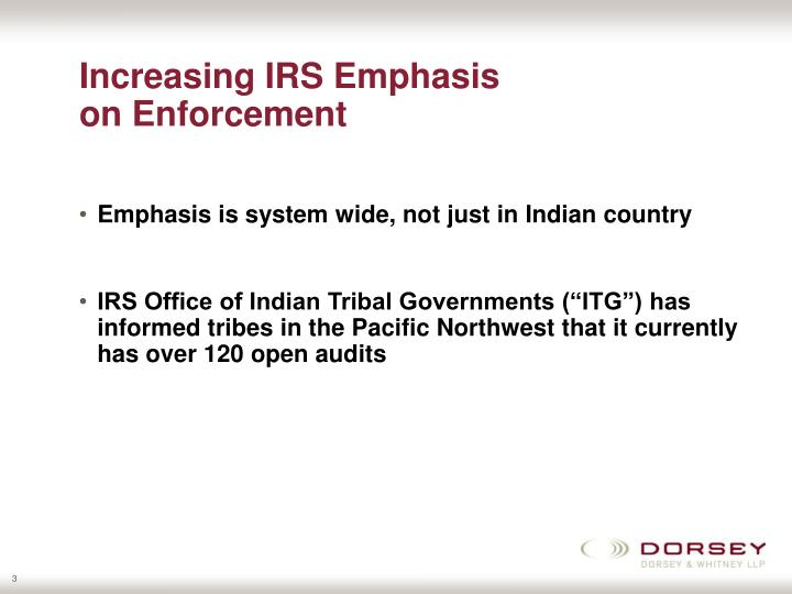 Increasing irs emphasis on enforcement