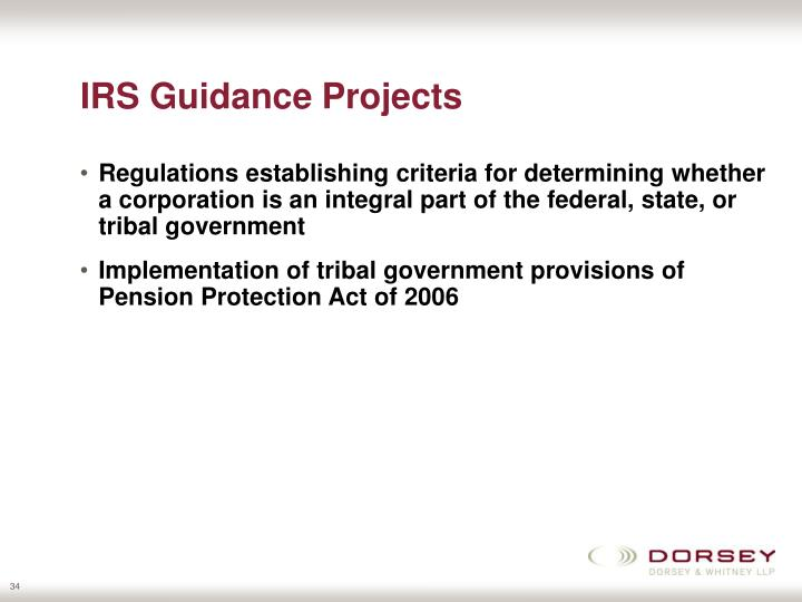 IRS Guidance Projects