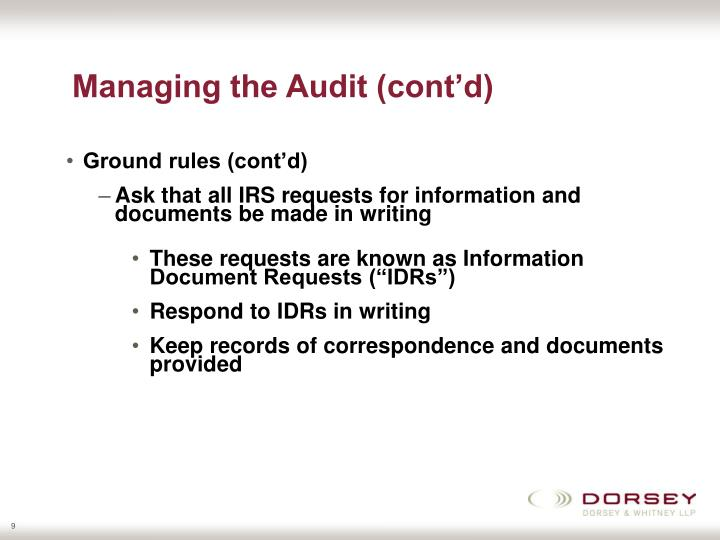 Managing the Audit (cont'd)